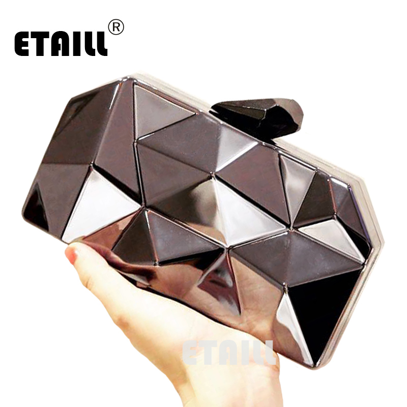 ETAILL Shinning Geométrica Rhombus Silver Metallic Embrague Del Monedero Del Bol