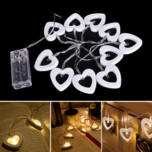 1PC Warm White Light Waterproof 10 Led String Lights Wooden Heart Shaped LEDs Indoor Outdoor Lights For Wedding Party Decoration 10 pcs dhl 48 leds free shipping rgbw multi colors waterproof battery rechargeable outdoor decoration led lights for party