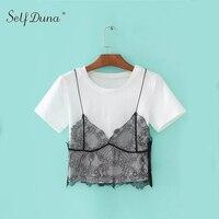 Self Duna 2017 Summer Women Faux 2 Piece Black Lace T Shirt Cotton Sexy Vogue Short