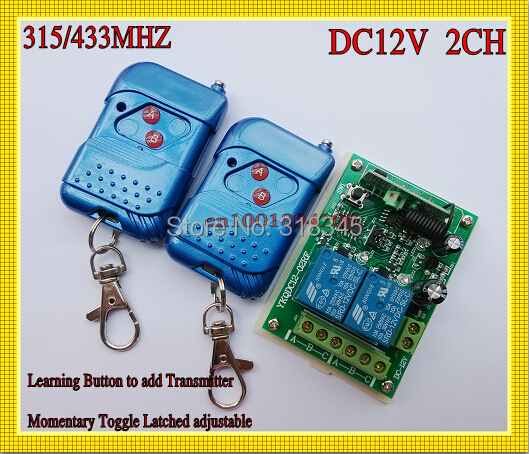 315/433MHZ 12V 2CH Transmitter Receiver RF wireless remote control switch Learning Code Momentary Toggle Latched Relay indicator remote control switches dc 12v 2ch receiver long range remote control transmitter 50 1000m 315 433 rx tx 2ch relay learning code