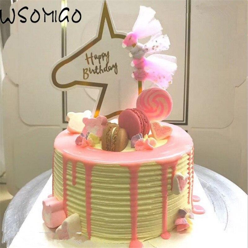 Happy Birthday Cunicorn Cake Topper Cartoon Unicorn Cake Decoration Unicorn Party Baby Shower Cake Decoration Party Supplies-S