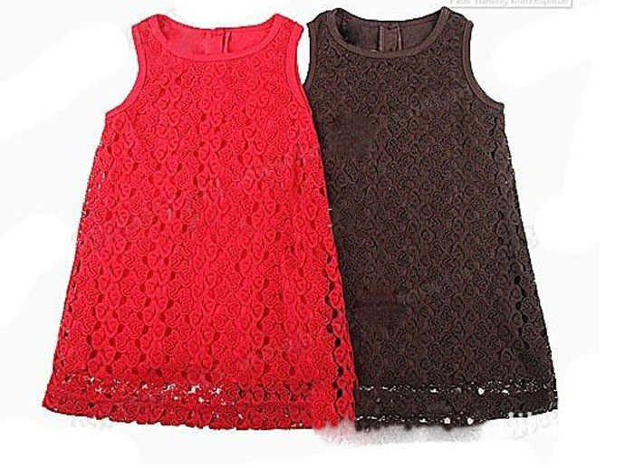 Baby girls dress popular red frock Little Stylish simple children clothes party Pierced fantasias infantis menina