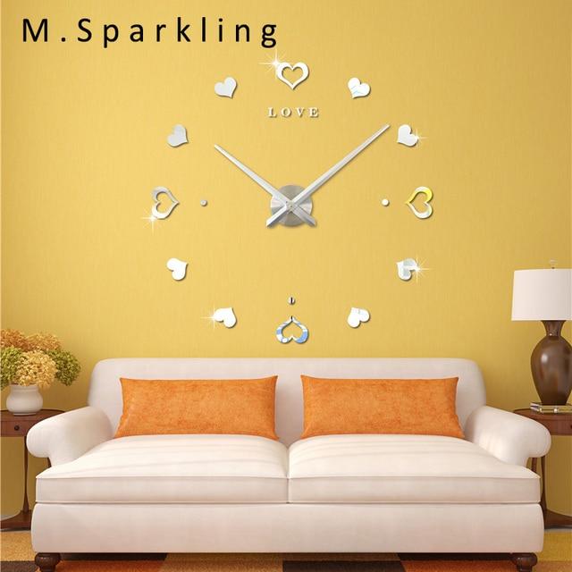 M.Sparkling] Modern Home Decoration Wall Clock Sticker Love Heart ...