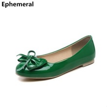 Ladies round toe big size shoes ballet flats patent leather slip ons bow low top loafers women black pink blue driving shoes