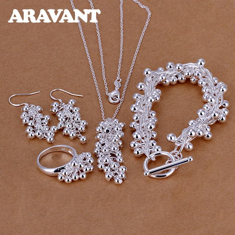 Venda quente 925 Jóias de Prata Uvas Contas Pingentes Colar Gota Brinco Anéis Pulseiras Apto Para Conjuntos de Jóias Mulheres Moda