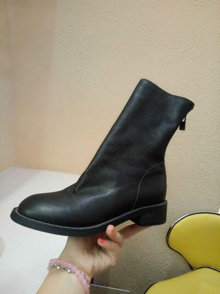 Cuero Alto blanco Tamaño Del Tobillo De Botas Talón Genuino 2018 43 Invierno Zapatos Montar {zorssar} Negro Mujer Grande FqfwEf