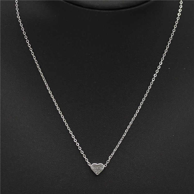 2019 Baru Emas Berlapis Perak Hati Kecil Kalung Bijoux Wanita Kerah Fashion Perhiasan Tulang Selangka Liontin Kalung Hadiah Penjualan