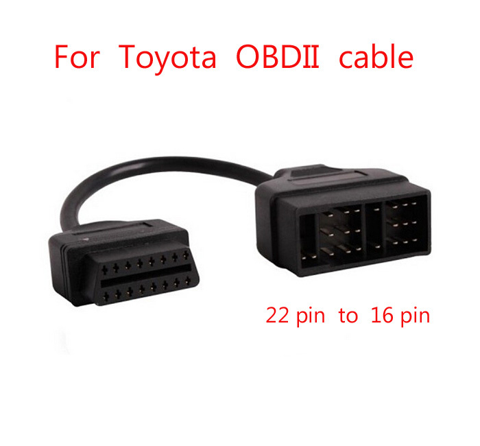 For <font><b>Toyota</b></font> OBD Connect 22 Pin <font><b>22pin</b></font> Male to OBD2 OBDII DLC 16 Pin 16pin Female Connection Adapter Cables Diagnostic cable image