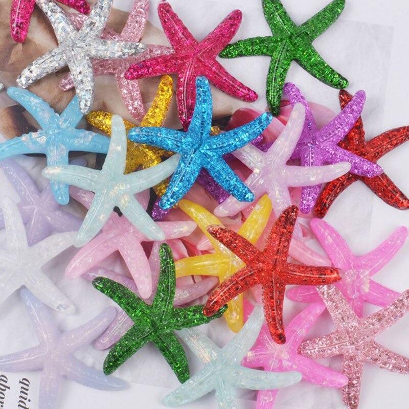 10 Pcs Kawaii DIY Resin Adorable Glitter Colorful Starfish Shell Wedding Decor Crafts Making Scrapbooking DIY Hair Decoration