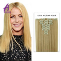 Color 60 # Clip in Human Hair Extensions Blonde Human Hair Clip In Extensions 70g Platinum Blonde Remy Human Hair Clip In