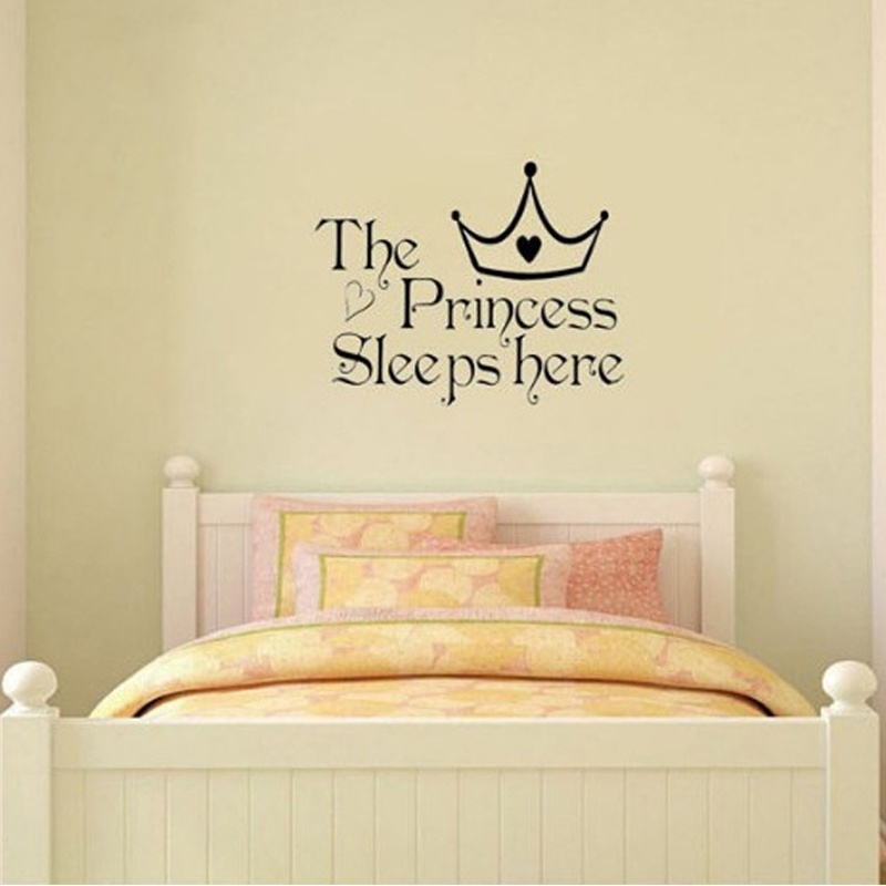 US $1 53 8% OFF|Hot Selling New Style The Princess sleeps here Wall Say  Quote Word Lettering Art Vinyl Sticker Decal Home Decor Words -in Wall