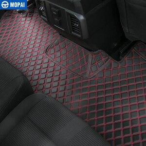 Image 4 - MOPAI araba iç aksesuarları deri paspaslar ayak pedleri kiti dekorasyon kapak Ford F150 2015 Up araba Styling