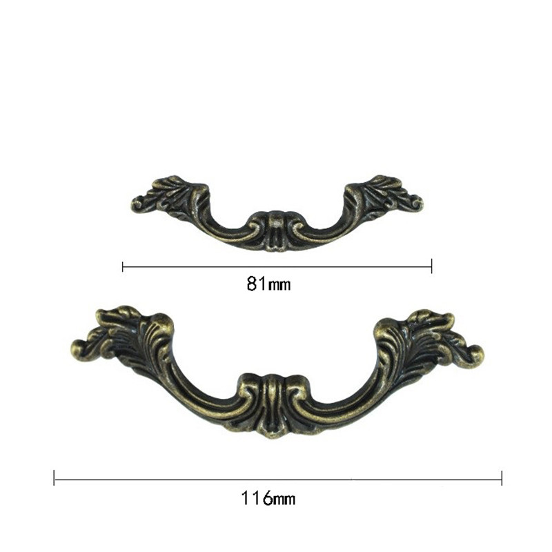 Bulk  Antique Furniture Handle Cabinet Knobs and Handles Drawer Kitchen Door Pull Cupboard Handle Furniture Fittings,81mm/116mm hot brown handle single hole leather door handles cabinet cupboard drawer pull knobs furniture kitchen accessories 96 160 192mm
