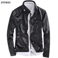 Black Leather Jacket Men Motorcycle Stand Collar Fashion Korean Classic Blouson Simili Cuir Homme Bomber Jackets Men Veste Homme
