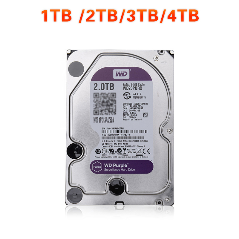 In Stock WD Purple 1TB 2TB 3TB 4TB Hard Drive Disk For Security System HDD 3.5 SATA DVR CCTV PC HDD Surveillance Hard Drives wd purple 4tb hdd surveillance hard disk drive 5400 rpm class sata 6 gb s 64mb cache 3 5 inch wd40purx