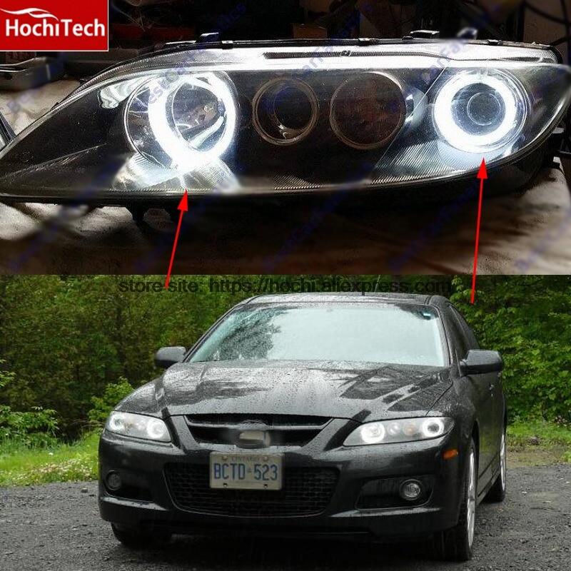 HochiTech WHITE 6000K CCFL Headlight Halo Angel Demon Eyes Kit angel eyes light For Mazda6 Mazda 6 Mazdaspeed6 2002-2008 цена