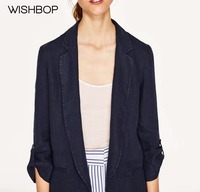 WISHBOP 2017 Woman Fashion Autumn Navy Linen Blazer Lapel Collar Tabs On 3 4 Sleeves With