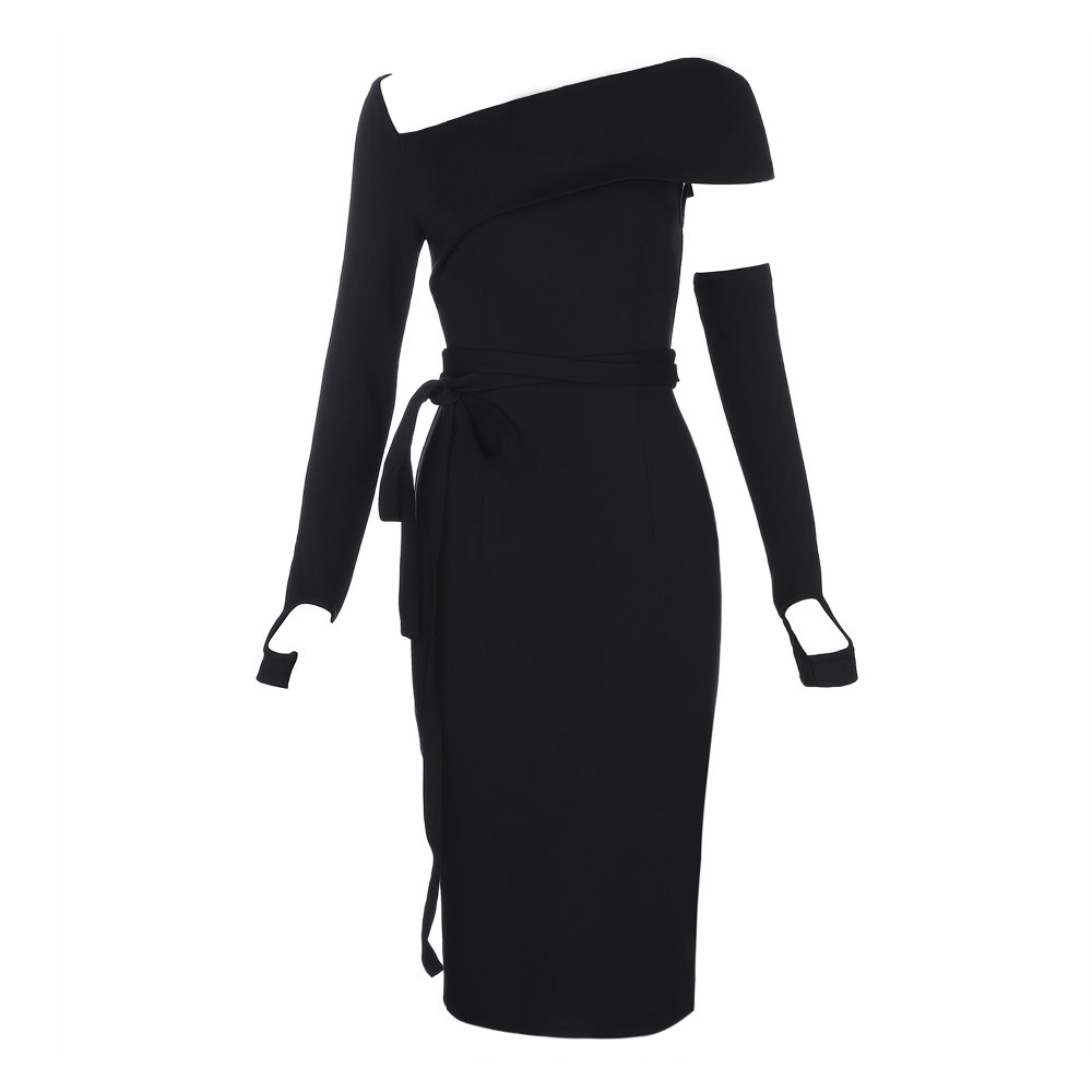 Di Bodycon Sera Inverno Slash Collo Donne Nero Moda Sexy Personaggio Club Abiti Vintage Partito Un Del Night Eleganti Famoso LqRAc4j35