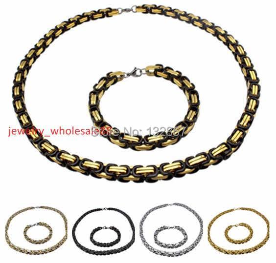 scegliere insieme dei monili degli uomini fatto a mano fresco bizantino catena box bracelet & necklace dei monili dell'acciaio inossidabile 8.5 mm ampio 24 '' + 8.66 ''