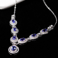 Collier Collares Qi Xuan_Fashion Jewelry_Blue Stone Necklaces_S925 Solid Silver Woman Blue Necklaces_Factory Directly Sales