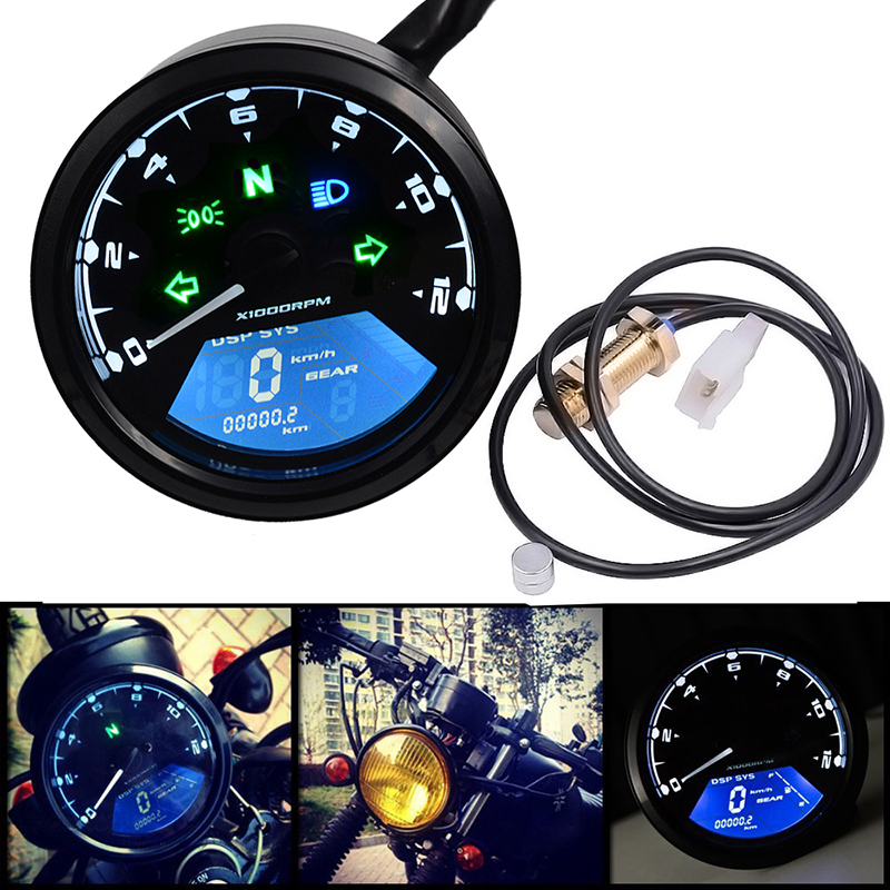 1pcs 12V Motorcycle retro LED Backlight Instrument Waterproof Speedometer Odometer With Warning Function Motorcycle Accessories