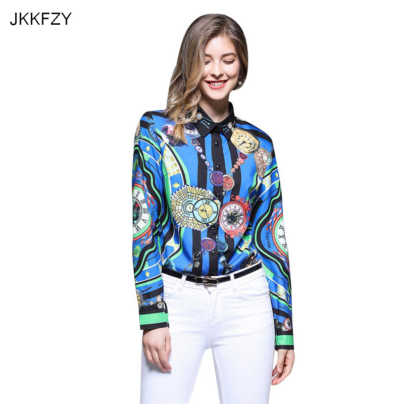 JKKFZY Women Long Sleeves Turn Down Casual Fashion Runway Blouse 2018 Autumn New High-End Elegant Office Shirt Casual Top