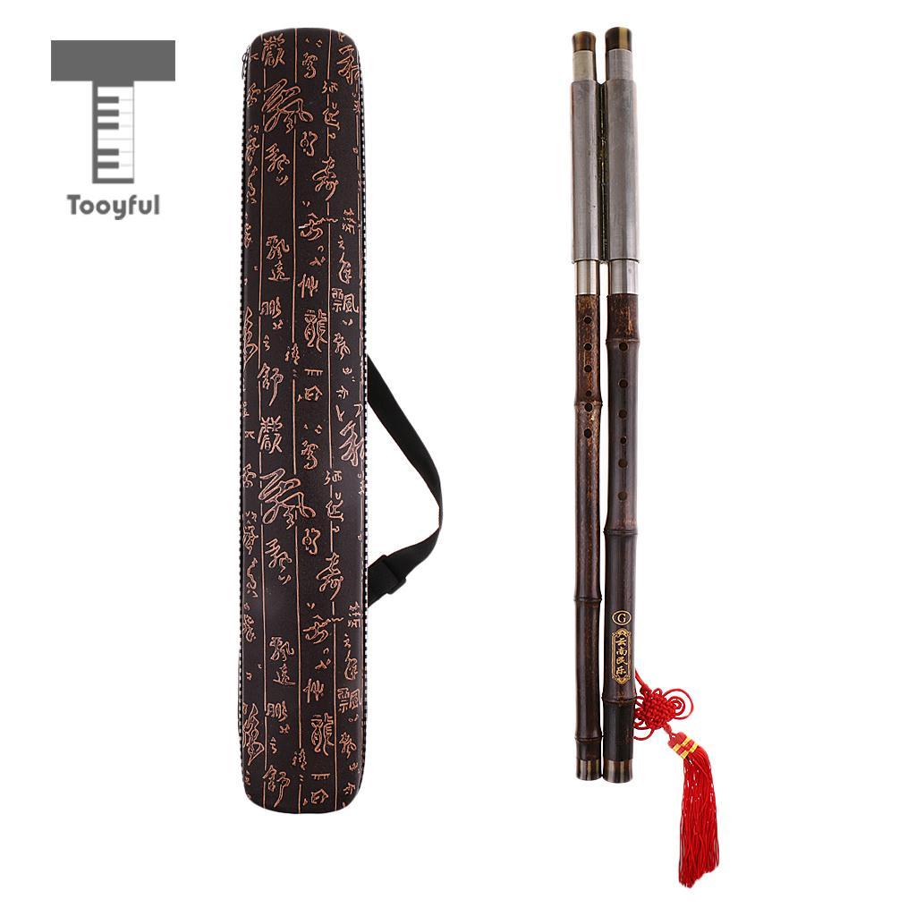 Tooyful Chinese Double Tube Bamboo Flute Bawu Pipe Concert Flute Bau Tune G with Case Ethnic Folk Musical Woodwind Instrument 5set white paint traditional chinese bamboo flute dizi pluggable f key musical instrument