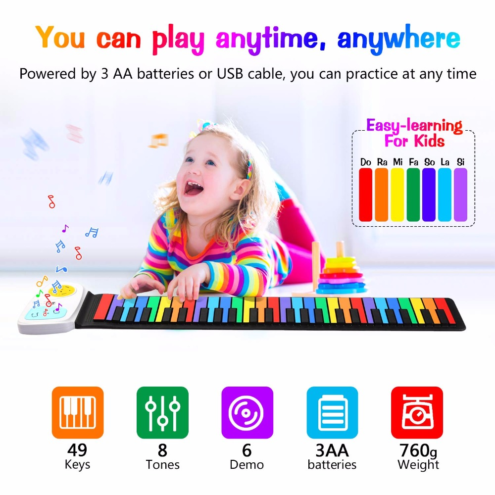 Roll Up Piano, 49 Keys Silicone Portable Flexible Easy to Carry and Store Foldable Roll Up Color Keyboard Electronic Soft image
