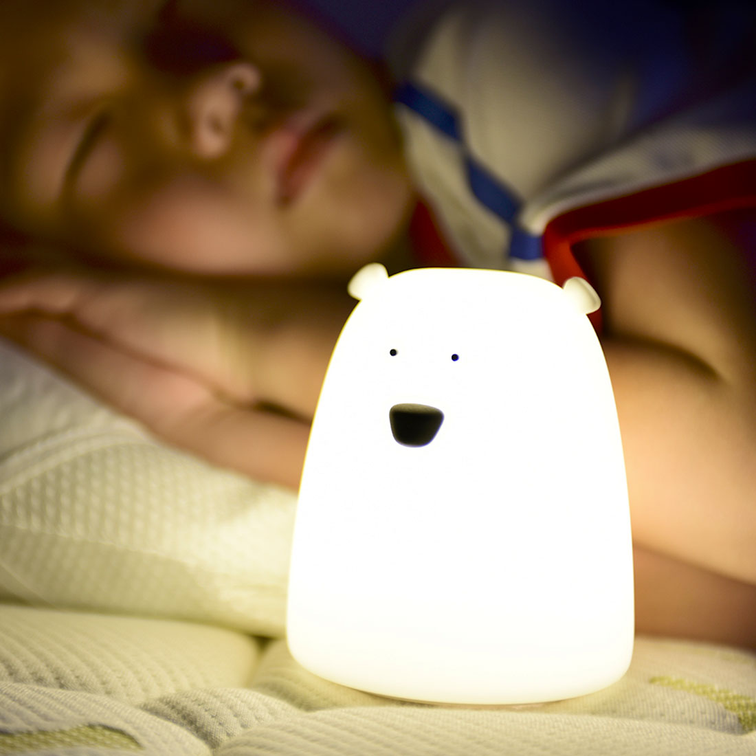 Children Kid Toy Gift Children Baby Bedroom Night Lamp Cute Bear Silicone LED Night Light Color Changing LED Bedside Light