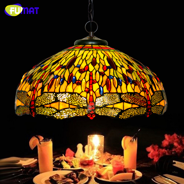 FUMAT Stained Glass Pendant Lamp European Pastoral Flower Art Glass For Kitchen Living Room LED Glass Suspension Light Fixtures