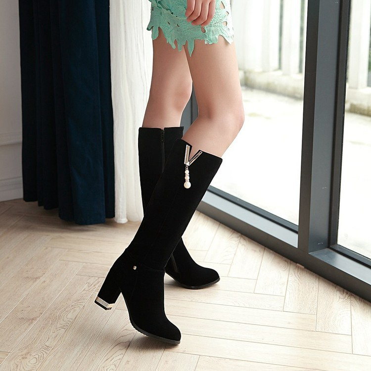 New Beaded Womens Large Size 40 High-heeled Suede Black Knee High Boots Autumn And Winter 7cm8