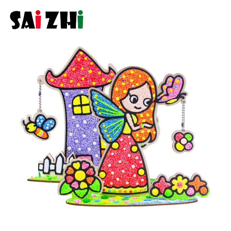 Coloring:  Saizhi DIY 3D Wood Creative Toy for kids Clay Snowflake Mud Materials Craft Materials Handmade Art Crafts Coloring Toy SZ3634 - Martin's & Co