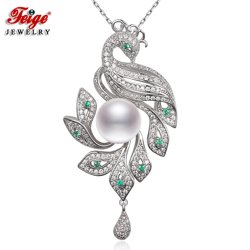 Natural Pearl Peacock Pendant 925 Sterling Silver Necklace for Women Fine Jewelry 10-11mm White Freshwater Pearl Chain Beads 925 sterling silver women lapis beads yellow chalcedony peacock pendant necklace rope chain thai silver choker jewelry ch057272