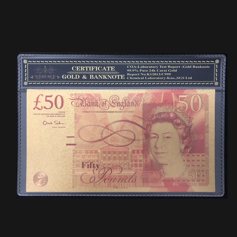 24k Gold British 50 Pounds Note With Plastic Frame Colored UK Gold Banknote For Collection Business Gifts