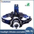 Caliente Del Cree T6 3 Modos de 3000 Lúmenes Impermeabiliza la Linterna de Zoomable Ajustable Lámpara De Cabeza Faro Linterna lampe frontale
