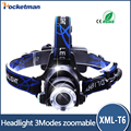 Hot Cree T6 3 Modes 3000 Lumens Waterproof LED Headlight Adjustable Zoomable Head Lamp Head Light Lantern lampe frontale
