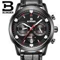 Switzerland BINGER мужские часы  роскошные брендовые Кварцевые водонепроницаемые часы с кожаным ремешком и секундомером  спортивные часы  мужские н...