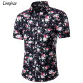 Wholesale Prices Shirt Men 2016 New Fashion Design Short Sleeve Flower Men's Dress Shirts Slim Fit Casual Shirt Plus Size M-5XL