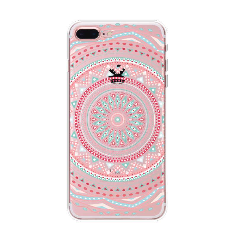 Fashion Kant Mandala Bloem Telefoon Case voor IPhone 5 5 s 6 6 S 7 7 Plus 8 Plus Zachte Sexy Datura Bloemen Achterkant Mobiele telefoon