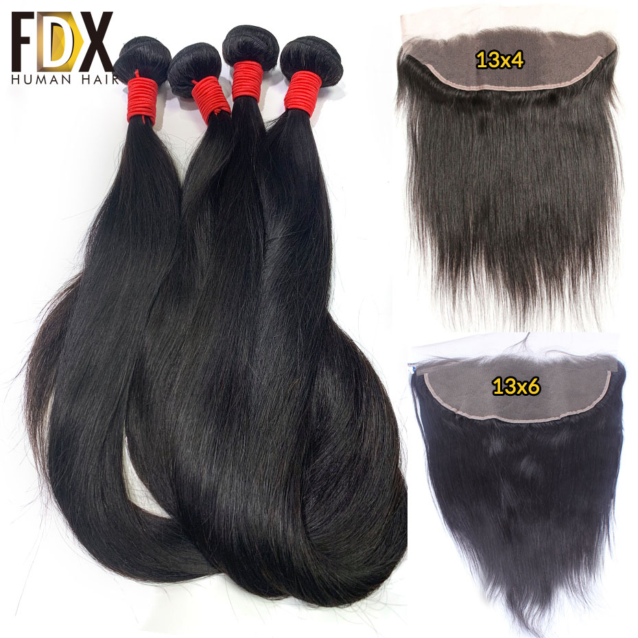 FDX Indian Straight Hair 3 Bundles With Frontal 100 Human Hair Weaves With 13 4 Free