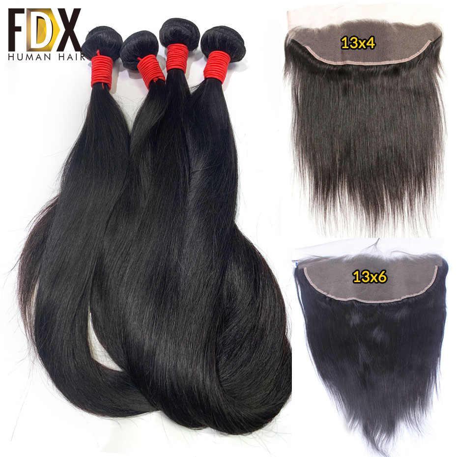 FDX hint düz saç 3 Demetleri Ile Frontal 100% insan saç örgüleri 13x4 13x6 Ücretsiz Bölüm Kapatma Remy Saç 30 inç 32 38