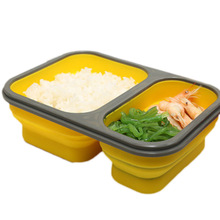 2 Cells Silicone Collapsible Portable  600ml+300ML Microwave Oven Bowl Folding Food Container
