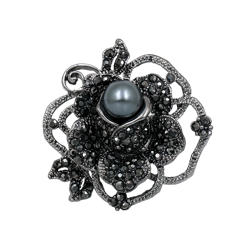 baiduqiandu Factory Direct Sale Black Crystal Rhinestones Rose Flower Brooches with A Simulated Pearl For Women