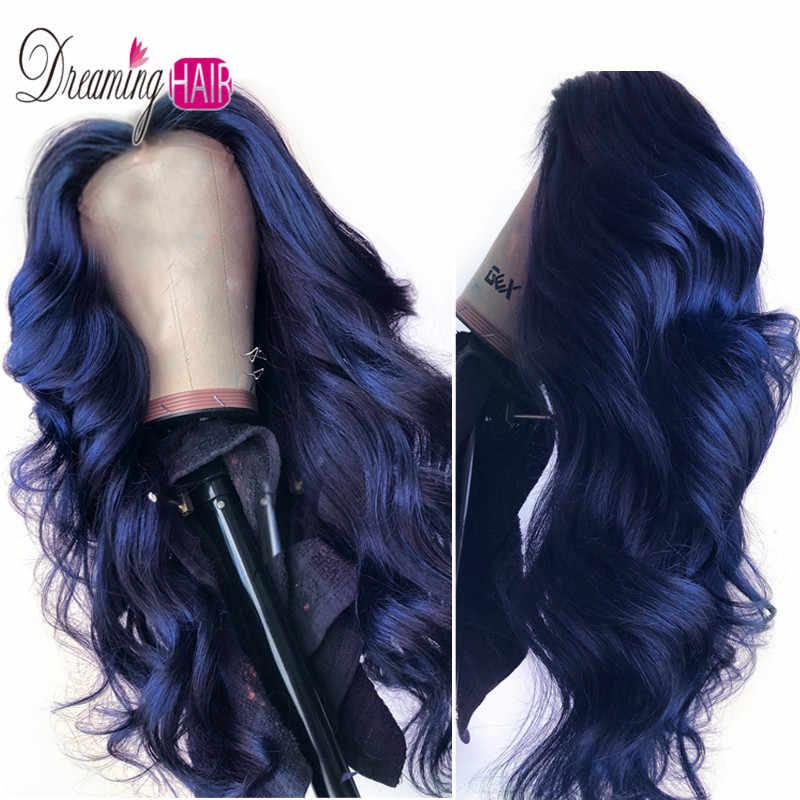 สีน้ำเงินเข้ม Ombre บราซิล 13x6 ลึกส่วน Body Wave ลูกไม้ด้านหน้า Wigs ผมมนุษย์สำหรับสีดำผู้หญิง