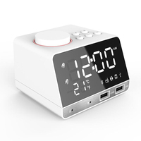 Digital Bluetooth 4.2 Alarm Clock Speaker with Dual USB Interface Charging Audio LED Mirror Clock Music Display Desktop Clock