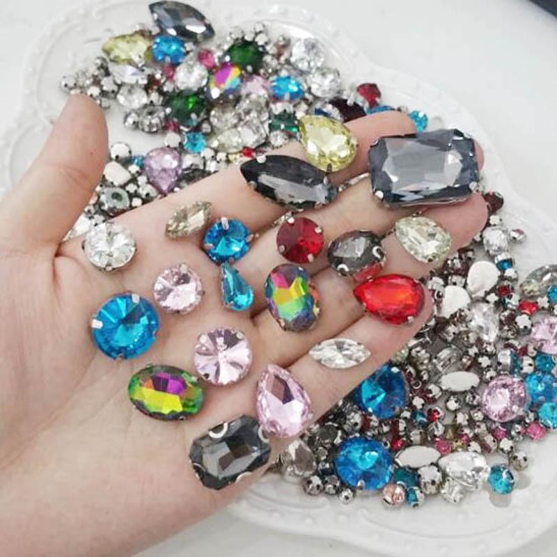 Rhinestones Glass Rivoli D Claw Crystals Sew On 8mm 10mm 12mm 14mm 16mm  18mm Flatback Crystals Rhinestone For Dress Decoration-in Rhinestones from  Home ... 254b26920aeb