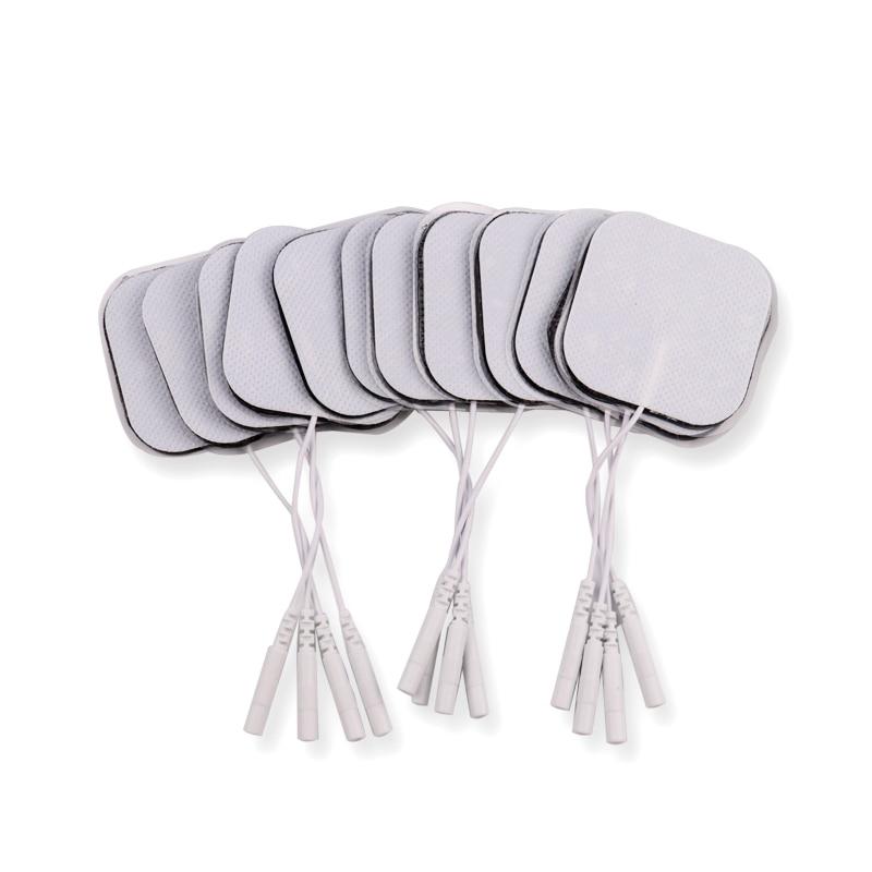 100 pçs/lote 5*5cm 2 milímetros Plug Reutilizável Autoadesivo Dezenas Eletrodo Pads Para O Nervo Estimulador Muscular Digital massager da fisioterapia