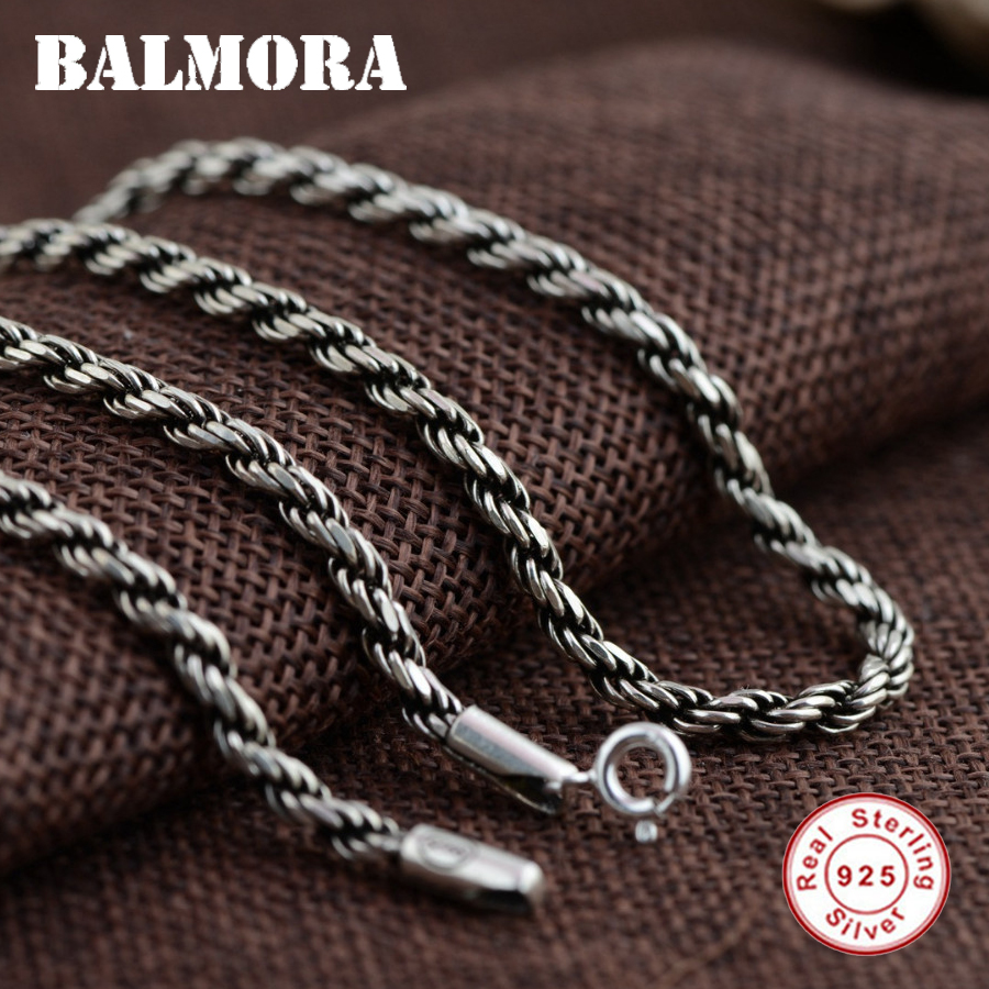 BALMORA 100 Real 925 Sterling Silver Vintage Chains Necklaces for Men Male Jewelry Accessories Bijoux 18