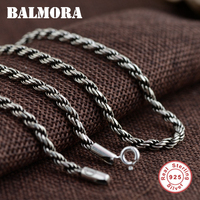 BALMORA 100% Real 925 Sterling Silver Vintage Chains Necklaces for Men Male Jewelry Accessories Bijoux 18 32 inches 0056