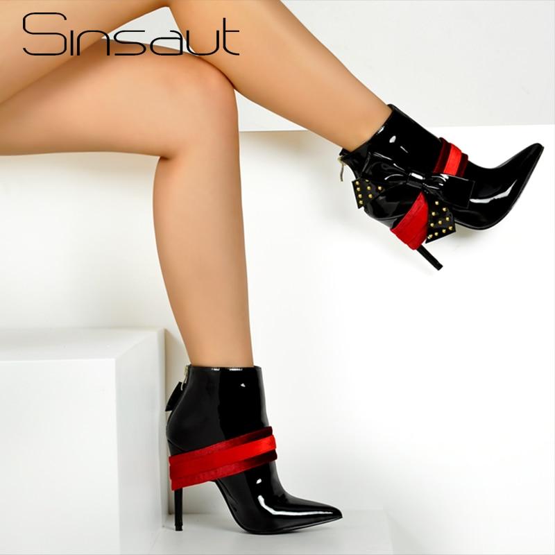Sinsaut Autumn Winter Shoes Woman Thin High Heels with Bow in Women Ankle Boots Winter Boots Women Zipper Rivets Black Boots цена